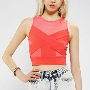 Sparkle & Fade UO Sheer Illusion Cropped Top